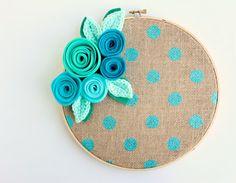 burlap and blue metallic polka dot hoop art - 9 inch floral