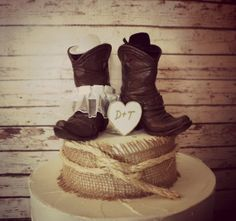 Country Western Wedding Cowboy Boots Cake Topper And Cowgirl Rustic By Esther
