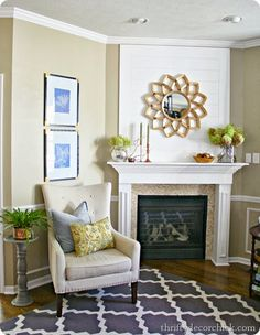 Natural fall mantel in family room... Fall mantel link up party at thriftydecorchick