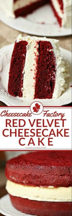 This Cheesecake Factory Red Velvet Cheesecake Cake Copycat Recipe is simply AMAZING! Wow your guests for Valentine's Day, Christmas, Birthdays, and dinner parties! This Cheesecake Factory Red Velvet Cheesecake Cake Copycat Recipe is si Red Velvet Cheesecake Cake, Banana Cheesecake, Easy Cheesecake Recipes, Pumpkin Cheesecake, Cupcake Recipes, Dessert Recipes, Red Velvet Cheese Cake Recipe, Chocolate Cheesecake, Chocolate Cake