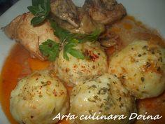 Reteta culinara Pui in sos si galuste cu cascaval din categoria Pui. Specific Romania. Cum sa faci Pui in sos si galuste cu cascaval