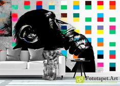 Fototapet decorativ cu animale - Maimuță neagră| Fototapet.art Realizam la comandă fototapet personalizat pentru camera copiilor Latex, Darth Vader, Batman, Superhero, Wallpaper, Fictional Characters, Design, Wall Papers, Superheroes