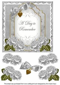 Silver Rose Date to Remember Fancy 7in Decoupage Topper on Craftsuprint - Add To Basket!