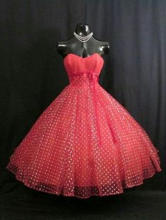 1950 red and silver dress.