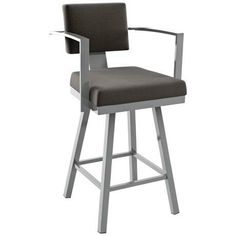 "Amisco Akers Fleece 30"" Magnetite Glossy Gray Bar Stool -"