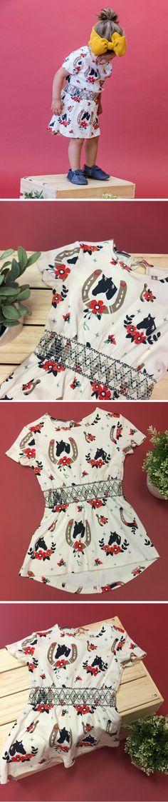 Duchess and Goose handmade modern smocked girls toddler dress with horse print