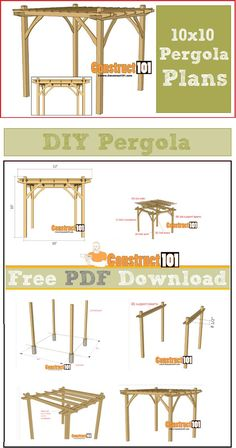 Build it yourself pergola. 10x10 pergola plans - PDF download. Plans include step-by-step illustrations, shopping list, and cutting list.