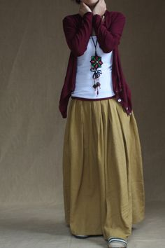 Yellow skirt  fashon skirts Long Skirts Linen by fashiondress6, $58.00