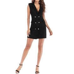 Double Breasted Work Suits Long Sleeve Blazer Dress – sunifty