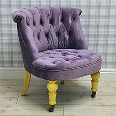 Vintage Style Purple Velvet Upholstered Button Back Bedroom Sofa Occasional Accent Chair