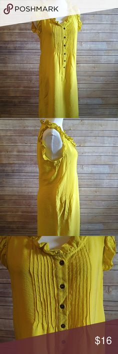 """Yellow shift dress with ruffle detail Great condition. Color is a bit more rich than I could capture. Buttons are an old gold/antique gold look. Pockets!  18.5"""" bust 37"""" length  Rayon/nylon New York & Company Dresses"""