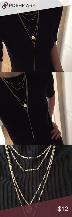 "Multilayered Hipster Balance Bar Necklace Gold plated multi layer necklace with hipster bar pendant, small round circle pendant and small beats charm. Bar charm is about 2"". Overall necklace size 16"". All four layers are connected and cannot be worn  seperately. Very boho look! Jewelry Necklaces"