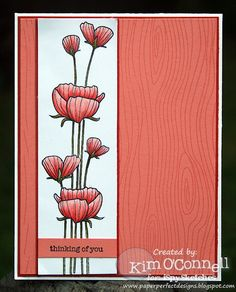 "Paper Perfect Designs by Kim O'Connell: Hero Arts ""Delicate Blossoms"" and A Muse Studios woodgrain background stamp"
