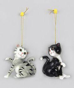 Cat Ornament - Set of Two #zulily #zulilyfinds
