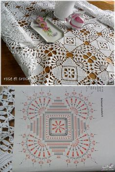 Lovely Lace Tablecloth - size will depend upon the number of motifs joined toget. - Crochet - Lovely Lace Tablecloth – size will depend upon the number of motifs joined together. Crochet Tablecloth Pattern, Crochet Motif Patterns, Crochet Bedspread, Crochet Blocks, Crochet Chart, Crochet Squares, Thread Crochet, Crochet Designs, Crochet Stitches