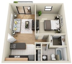 Studio Apartment Decorating SF) I like the arrangement, I would add a collapsing table for dining in the living room area. House Plans Mansion, Sims House Plans, House Layout Plans, House Layouts, Small House Plans, House Floor Plans, Sims House Design, Home Room Design, Small House Design