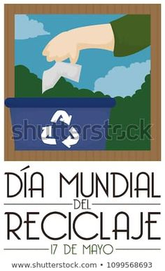 Poster promoting the correct way of sorting trash and recycle paper with a hand and bin to promote International Recycling Day (written in Spanish) celebration. Recycle Paper, Sorting, Promotion, Spanish, Celebration, Recycling, Royalty Free Stock Photos, Day, Illustration