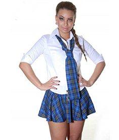 8487212c44042 Crazy Chick 9 Inch Women s Sexy Tartan Skirt Schoolgirl Fancy Dress Costume  (Blue   Grey