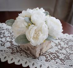 Rustic Peony Wedding Centerpiece by KateSaidYes on Etsy