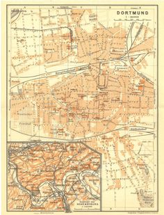 1909 Original Antique City Map of Dortmund, Germany, from Karl Baedeker travel guide at CarambasVintage, 16.00 USD, http://etsy.me/1AgU3lP