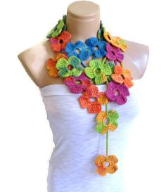 Crochet Lariat necklace Flower Lariat Scarf by likeknitting