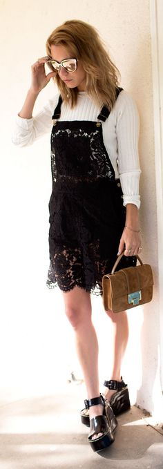 Lace Overall Dress Streetstyle