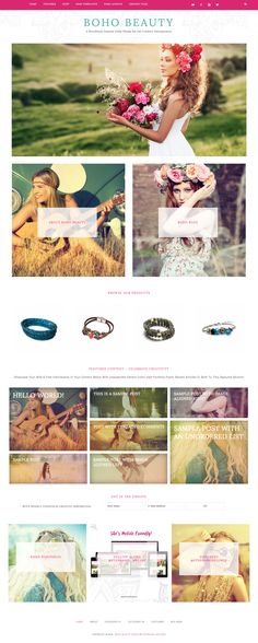 Boho Beauty // A WordPress Genesis theme for the creative artist and entrepreneur colorful bohemian style with portfolio page and ecommerce