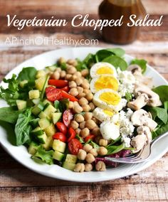 Vegetarian Chopped Salad with Chickpeas and Egg | http://www.apinchofhealthy.com/vegetarian-chopped-salad-chickpeas-egg/