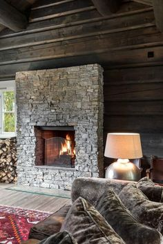 Cozy Cabin, Cozy House, Chalet Design, House Design, North Carolina Cabins, Cabin Fireplace, Montana Homes, Mountain Cottage, Brick And Stone