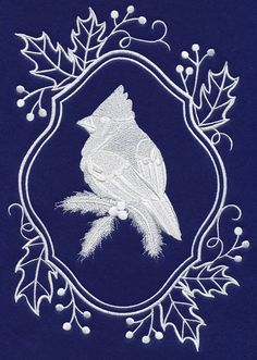 White Cardinal on blue fabric embroidered quilt block square