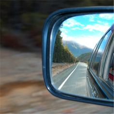 Looking Back in a Car Mirror Royalty Free Stock Photo Car Mirror, Rear View Mirror, The World Race, Kiwiana, Image Now, Looking Back, Lakes, New Zealand, Waterfall