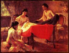 "Fernando Amorsolo's ""The Making of the Philippine Flag"" Filipino Art, Filipino Culture, President Of The Philippines, Philippine Art, Historical Art, Sewing Art, Artists Like, Beauty Art, Creative Art"