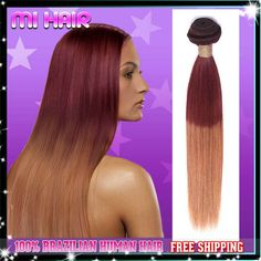 Straight Brazilian Ombre Hair Extensions 3Pcs,Two Tone Brazilian Virgin Hair Straight No tangle No shedding Queen hair Products $73.98 - 296.10