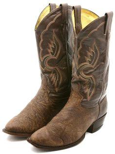 c29c8e4e0ea  0.99 Auction - Tony Lama Mens Cowboy Boots Size 9.5 D Brown Black Leather  Western Vintage