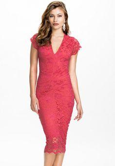 V Neck Slightly Lace Midi Dress MAVERLLY