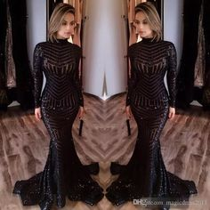 2017 Michael Costello Long Sleeve Prom Dresses Bling Bling Black Sequins High Neck Mermaid Sexy Celebrity Gowns Pageant Evening Dresses Party Prom Dresses Beaded Formal Evening Gown Crystal Evening Gowns Online with $142.0/Piece on Magicdress2011's Store   DHgate.com