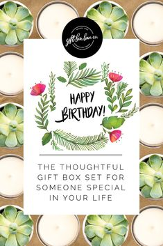 Give this gorgeous Birthday gift box to relative, co-worker, or neighbor for their upcoming birthday! Send the personalized happy birthday gift box directly to their door! // Gift Box Love Co -- #birthday #giftideas #giftbox #birthday