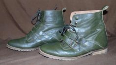 ASOS Size 8 Made In Spain 100% Soft Leather Khaki Green Lace Up Ankle Boots!