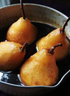 Notions & Notations of a Novice Cook — Making Orange-Caramel Poached Pears Pear Recipes, Fruit Recipes, Fall Recipes, Dessert Recipes, Cooking Recipes, Just Desserts, Delicious Desserts, Yummy Food, Chefs