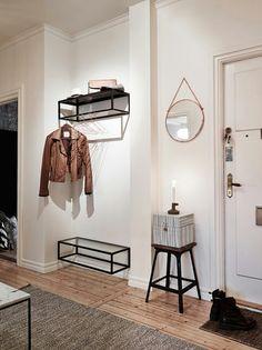 wood | shelf | hanger | storage | boxes | hallway | hall