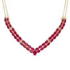 Oval Lab-Created Ruby and Diamond Accent Double Row Chevron Necklace