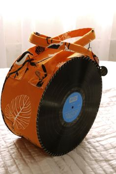 Up-cycled vinyl and canvass bag