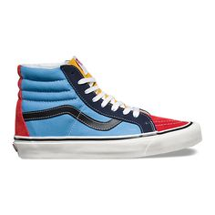 50th SK8-Hi 38 Reissue ($75) ❤ liked on Polyvore featuring men's fashion, men's shoes, men's sneakers, vans mens shoes, mens lace up shoes, mens high top sneakers, mens cap toe shoes and mens high top shoes