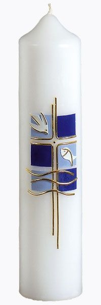 Christening candle, No. height = Ø = blue, gold Candle Craft, Candle Wax, Candle Sconces, Baptism Banner, Baptism Candle, Church Banners, Easter Cross, Diy Candles, Pattern Blocks