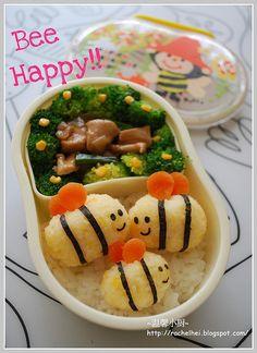 Bumble bees bento. Ingredients: (Chicken Teriyaki, Rice, Egg, Seaweed, Carrots)