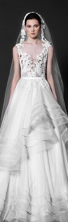 Tony Ward 2016 bridal v neck plunging neckline embroidery horse hair trim stunning A-line wedding dress.