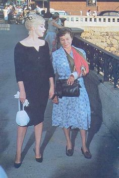"Marilyn Monroe and Thelma Ritter, ""The Misfits"", 1961. On the Wedding Ring Bridge in downtown Reno"