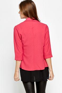 Cropped Sleeve Pink Blazer