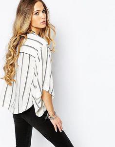 Image 2 - Free People - Blouse à manches kimono rayées - Blanc