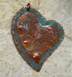 Hand Forged Rustic Copper Heart Pendant Component by SunStones, $12.50
